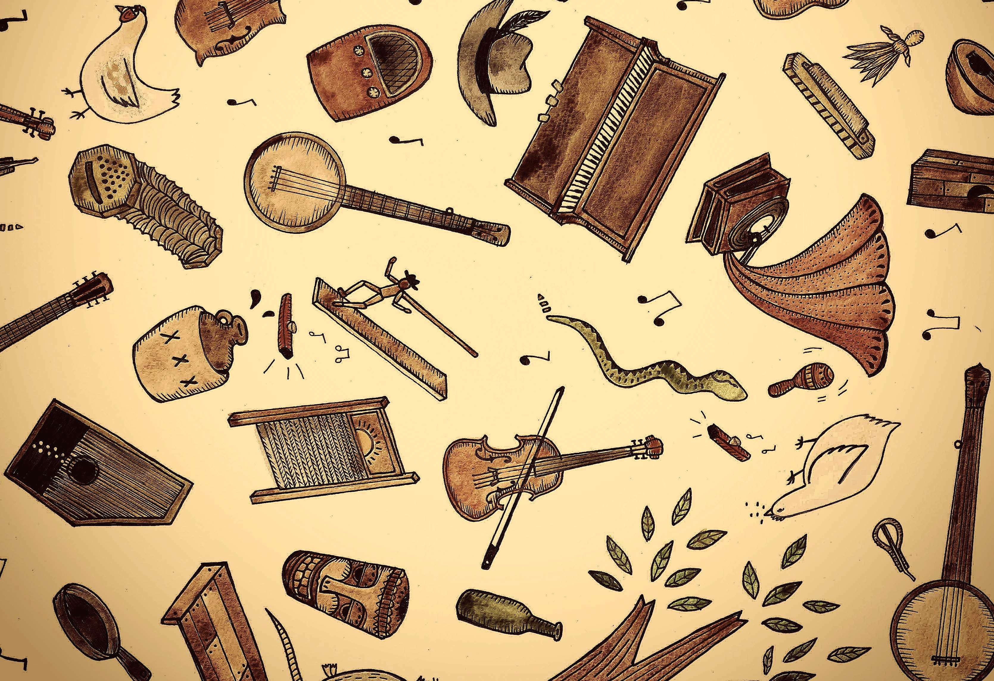 Old-Time Music Tiki Parlour Wallpaper